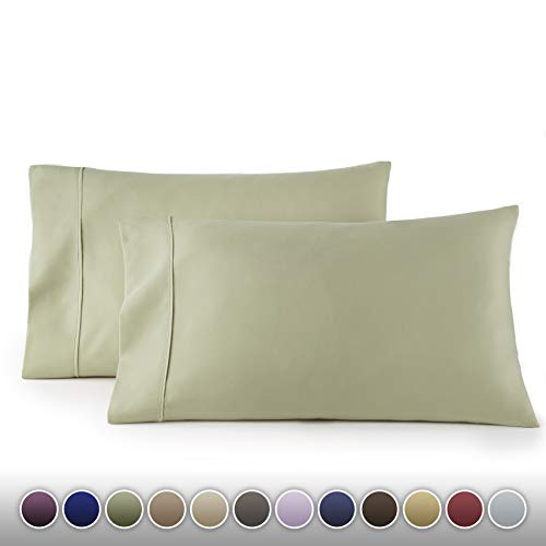 HC COLLECTION 1500 Thread Count Egyptian Quality 2pc Set of Pillow Cases, Silky Soft & Wrinkle Free (Fits Queen)- Standard Size/Sage Green