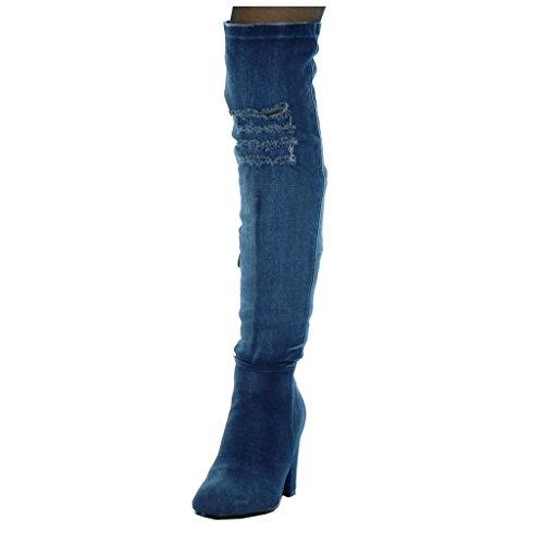 Angkorly - Chaussure Mode Cuissarde cavalier Jeans Denim souple femme déchiré Talon haut bloc 8.5 CM Bleu Marine