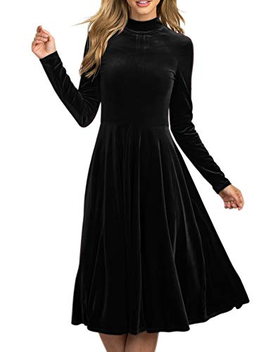 (LAICIGO Women's Elegant Long Sleeve Ruched Velvet Stretchy Long Dress)