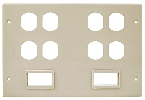 Hubbell Wiring Systems HBL67473BBBBSSIV Steel Metal Raceway Four Duplex Two Ortronics Series II Mini Adapter Bezel Cover Plate, 6 Gang, 10-7/32