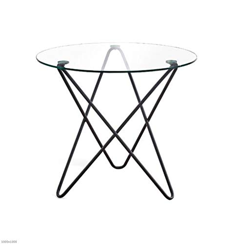 TX ZHAORUI Tempered Small Round Table Leisure Table Computer Table Tempered Glass Round Coffee Table Reception Table Wrought Iron Small Coffee ()