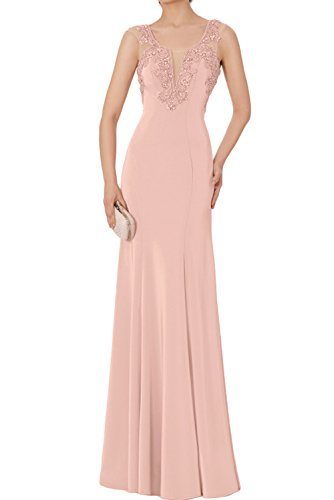 Chiffon Beigerosa Neu Abendkleider Altrosa Promkleider Ivydressing Glamour Ballkleider Stein Bodenlang Applikation wHXPnfqv