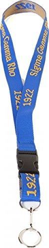 Sigma Gamma Rho Classic Woven Embroidered Lanyard [Royal Blue] (Gamma Sigma Rho Keychain)