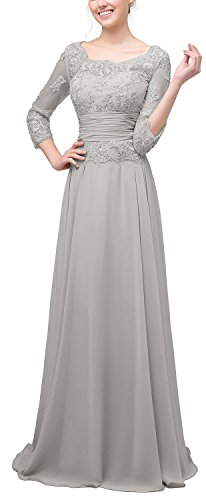 Rong store Rongstore Women's A Line Chiffon Mother Of The Bride Dresses Grey US 10
