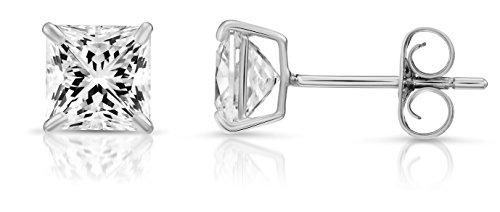 - 14k White Gold Square Cubic Zirconia Princess-cut CZ Stud Earrings, Unisex (5mm, white-gold)