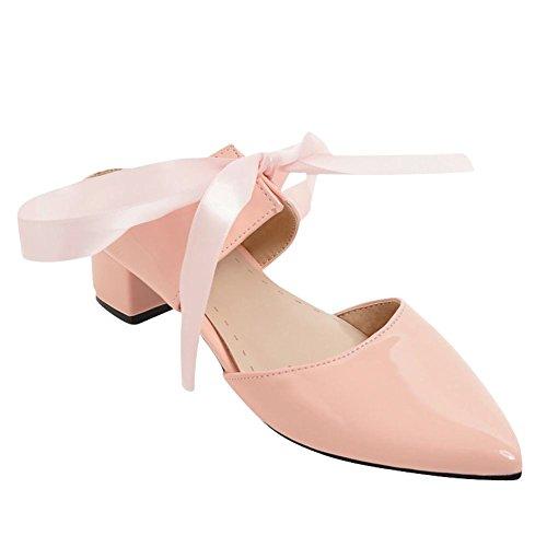 Rosa Spitze Shoes Gericht Blockabsatz Mitte Mee Ferse Damenmode Schuhe UfwSCqx8n