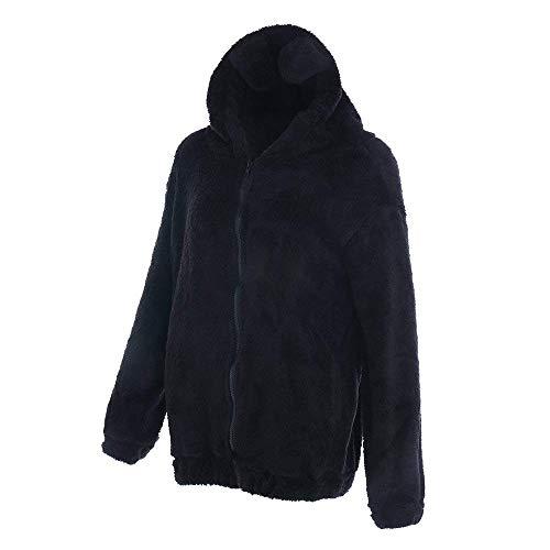 Caf Mode A Warm Outwear Large Capuche Plush Fashion Casual Vtements Automne Manches Femme Jacken D'Extrieur Manteau Chic Elgante Hiver Toison Longues Veste gW1dqwB1z