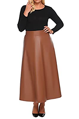 Involand Womens Plus Size High Waist Flared A Line Swing Maxi Leather Skirt for Party Casual