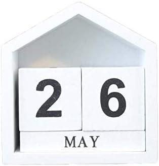 Vintage Holz Ewige Kalender Monat Datumsanzeige Ewige Gebäude Fotografie Props Schreibtisch-Accessoires Sweet Home Bürodekoration (Color : A)