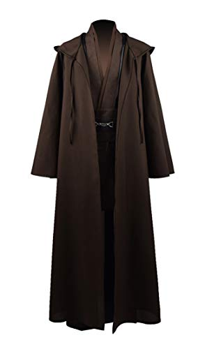 Fancycosplay Jedi Robe Cosplay Costume Set Men Halloween Outfit Brown White with Belt and Pocket Full Suit - US Size (L, Brown) -