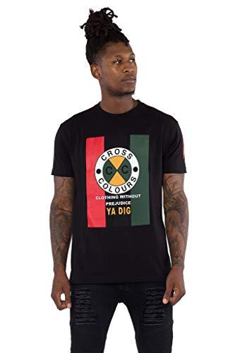 CROSS COLOURS Originals Flag Logo Graphic T Shirt (Small, Black)