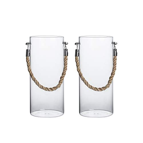 Clear Hurricane Vase - Whole Housewares Glass Cylinder Vase -Glass Lantern Set of 2 Multiple Use as a Vase, Candle Holder, Hurricane Lantern or Succulent Terrarium