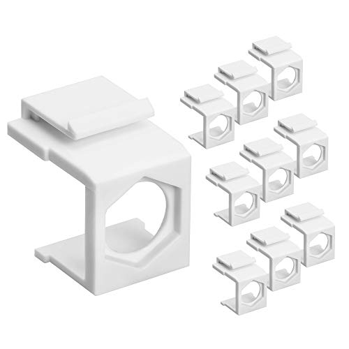 Cmple - Blank Insert Snap-in F Type Coax Connector for Keystone Wallplate - 10 Pack, White