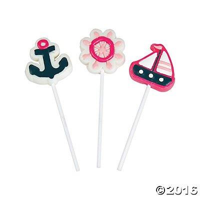 Fish Lollipops (Nautical Girl Sailor Lollipops Suckers - 12 ct)