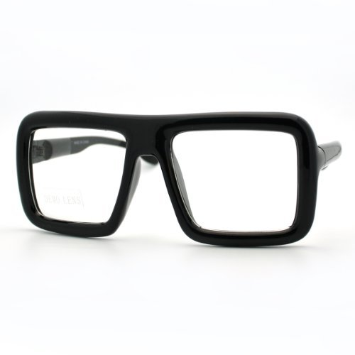 Black Thick Square Glasses Clear Lens Eyeglasses Frame Super Oversized Fashion ()