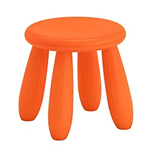 Flameer Childrens Stool Chair Kids Plastic Toddler Play Room Round Seat 12 Inch - Orange