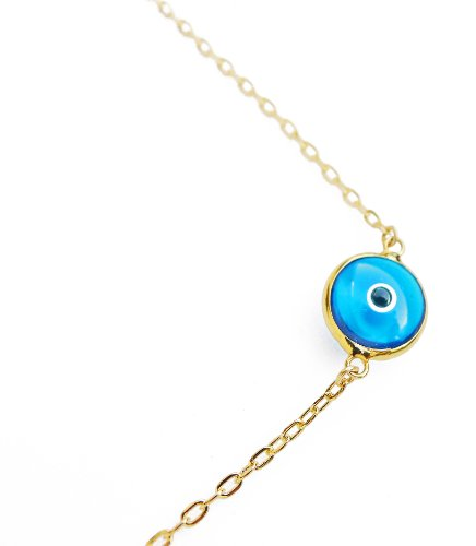 Evil Eye Pendant Necklace .925 Sterling Silver Gold Tone Quality Blue Murano Glass Lucky Charm Talisman - Pendant Murano Glass Gold