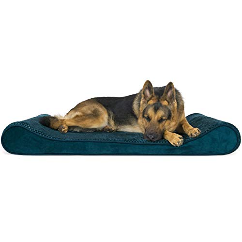 FurHaven Pet Dog Bed | Cooling Gel Foam Minky Plush & Velvet Luxe Lounger Pet Bed for Dogs & Cats, Spruce Blue, Jumbo