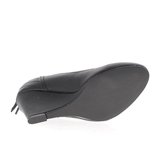Compensación mujer negra de piel 7,5 cm costuras mirada talón