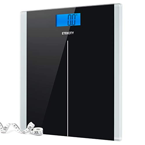 Etekcity Digital Body Weight Bathroom Scale With Step-On Technology, 400 Lb, Body Tape Measure Included, Elegant Black (Bath Scales Digital Body Fat)