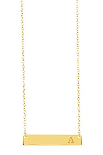 Sterling Forever - Gold Plated Sterling Silver Personalized Initial Bar Necklace for Women, 16-18 Cable Chain, Strong Lobster Clasp