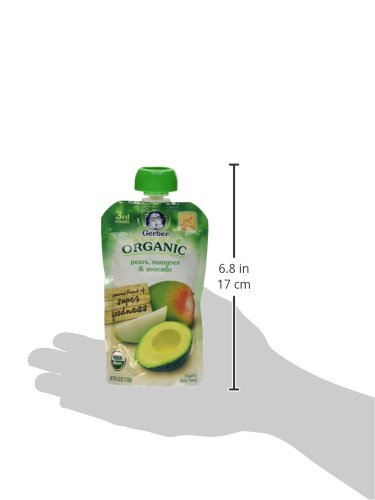 Gerber Organic 3rd Foods Pears, Mangoes & Avocado, 4.23 Ounce Pouch (Pack of 12)