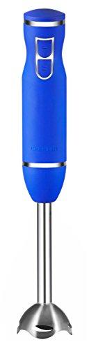 Chefman Immersion Blender Stainless Steel Shaft 300 Watt Ice Crushing Soft-Touch Rubberized Hand Blender RJ19-RBR-Royal Blue