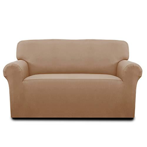 - Cotton Stretch Sofa Slipcover Sofa Cover Furniture Protector Sofa Shield Couch Soft Sturdy with Elastic Bottom Anti-Slip Foam Pets,Kids,Children,Dog,Cat (Loveseat, Beige)