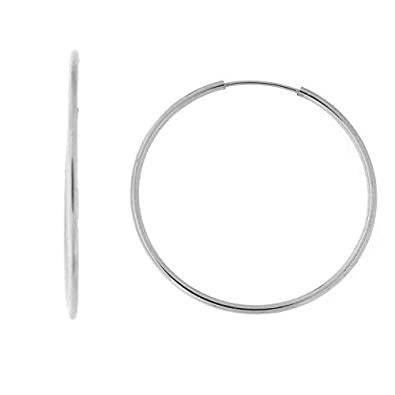 44cd77d36 Image Unavailable. Image not available for. Color: 14k White Gold 1mm  Classic Endless Hoop Earrings ...
