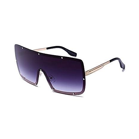 Burenqi   Nueva Plaza Fahion Gafas de Sol Mujer Hombre diseñador Marca  Diamond Marco de Aleación de gradiente de Gafas Lentes de Espejo UV400,D   Amazon.es  ... 17c9c2463c