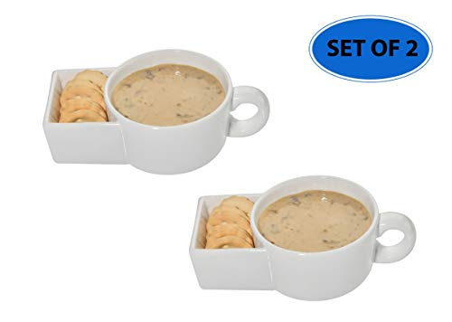 - Home-X Set of 2 Soup and Crackers Ceramic Mug Bowl | Cookies and Milk, Veggie Snack & Dip Cup