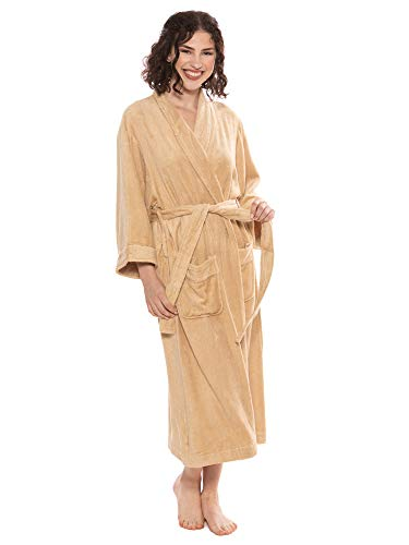 Women's Luxury Terry Cloth Bathrobe - Bamboo Viscose Robe by Texere (Ecovaganza, Almond Buff, Large/X-Large) Best Xmas Gifts WB0101-ABF-LXL