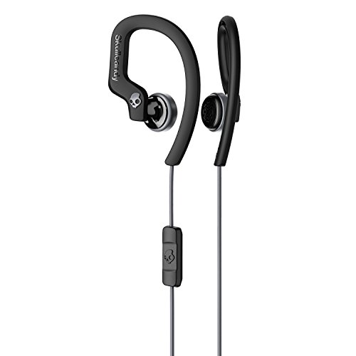 (Skullcandy Chops Flex Sweat-Resistant Sport Earbud with in-Line Microphone and Remote, Comfortable and Secure Flexible Ear Hanger, Black)