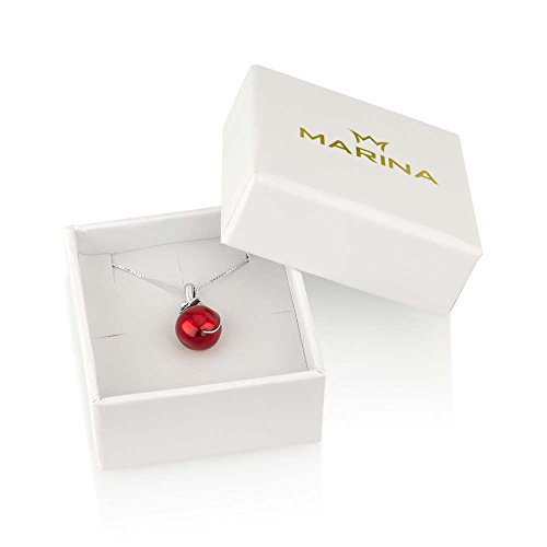 Marina Jewellery Genuine 925 Sterling Silver Chain Necklace and Red Pomegranate Seed Pendant Charm, 18 Inch Box Chain