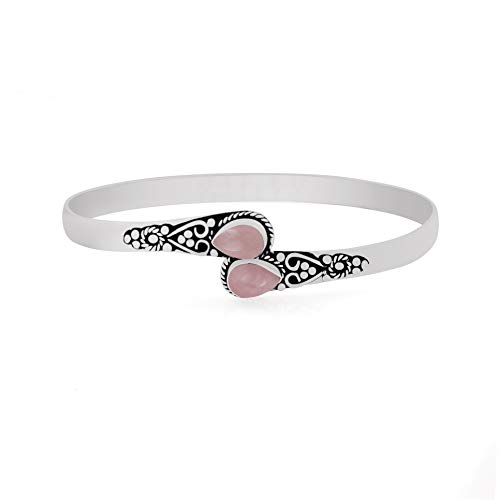 11.70gms, 3.20ct Genuine Rose Quartz .925 Silver Overlay Handmade Fashion Cuff Bangle Jewelry