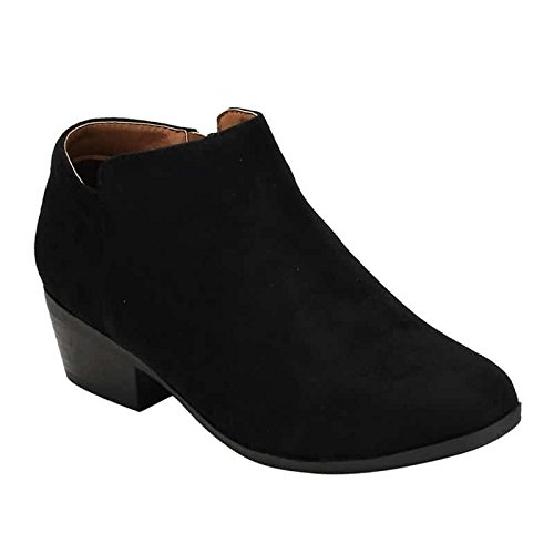 Bella Marie Womens Bradee-07 Suede Ankle Booties Black 7.5 B(M) US