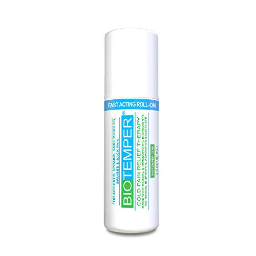 BioTemper Pain Relief Gel 3 oz Roll-on for Arthritis, Topical Analgesic, Fast Acting and Long Lasting Cooling Pain Reliever Cream for Muscle Pain, Joint Pain, Back Pain (Best Analgesic For Muscle Pain)