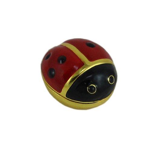 EchoMerx Ladybug Trinket Box Pill Box Enameled Hinged Keepsake for Rings Earrings Jewelry Red Gold (Trinket Hinged Pill Box)