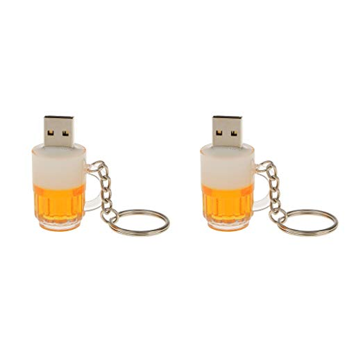 D DOLITY 2 Pack 16GB & 8GB USB 2.0 Cool Glass Beer Model Flash Memory Stick Drive Pen U Disk with Key Chain for PC Computer