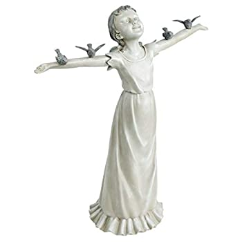 Design Toscano EU340125 Basking in Gods Glory Little Girl Outdoor Garden Statue, Large, 29 Inch, Two Tone Stone