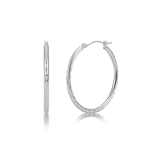Full Diamond Cut 14k White Gold 2mm x 30mm Click Top Tube Hoop Earrings - By Kezef Creations