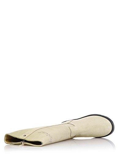 BYBLOS - Botte beige en croûte, avec fermeture éclair latérale, logo réalisé en strass, coutures visibles et semelle en caoutchouc, Fille, Filles, Femme, Femmes