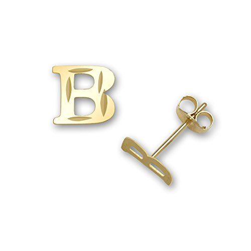 Jewelryweb-Solid-14k-Yellow-Gold-Small-Sparkle-cut-A-Z-Initial-Stud-Earrings