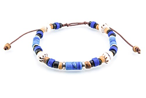 Puka Shell Beads (Adjustable, Hawaiian Coconut Wood Beaded Bracelet with Fimo Tubes and Tiger Puka Shell Beads)
