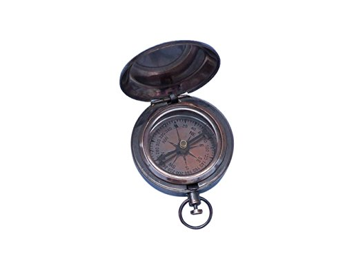 Hampton Nautical Antique Copper Scout's Push Button Compass, 2