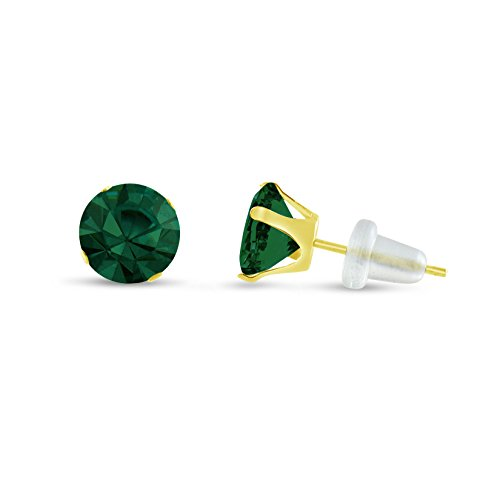- Round 7mm 10k Yellow Gold Simulated Emerald Stud Earrings, May Birthstone, (1.2 cttw)
