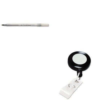 KITBICGSM11BKGBC3748022 - Value Kit - GBC Retractable Name Badge Reel w/Clip (GBC3748022) and BIC Round Stic Ballpoint Stick Pen (BICGSM11BK) (Gbc Retractable Name Badge)