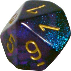 Polyhedral 7-Die Borealis Chessex Dice Set - Royal Purple with Gold Numbers CHX-27467