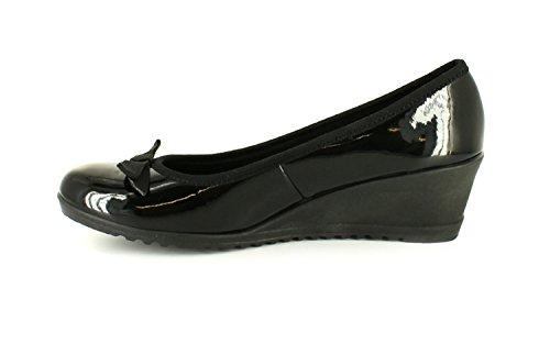 Nuevo Mujer Charol Negro Tacón Bajo Deslizarse de / Zapatos Con Moño - Charol Negro - GB Tallas 3-8