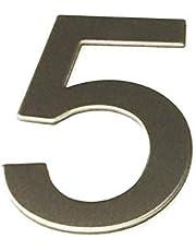 ASC - NUMBER 5 (vijf) - Geborsteld RVS STICK OP huis/deur nummer 10cm hoog